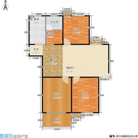 福星新城3室1厅1卫1厨120.00㎡户型图