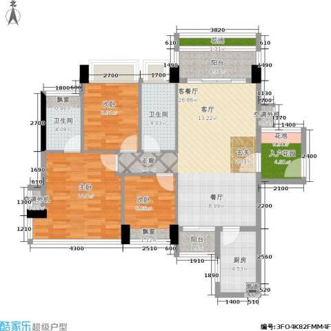 花城广场3室1厅2卫1厨119.00㎡户型图