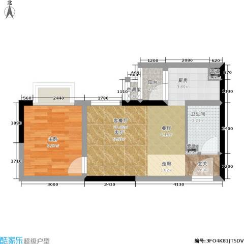 大川国际1室1厅1卫0厨35.65㎡户型图