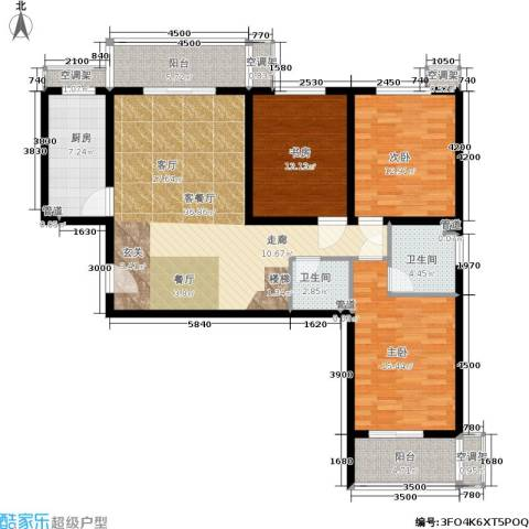 金源花园3室1厅2卫1厨121.71㎡户型图