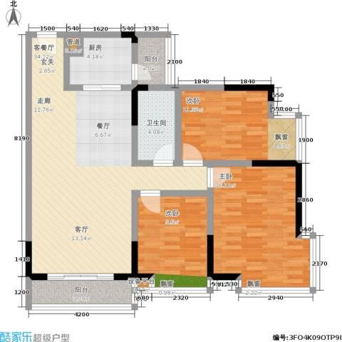 江南世家3室1厅1卫1厨125.00㎡户型图