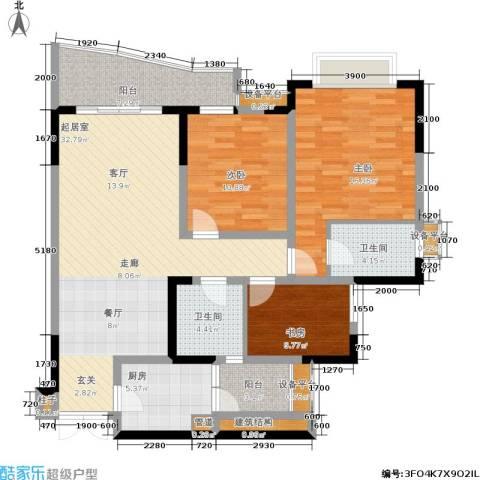上海城二期3室0厅2卫1厨94.16㎡户型图