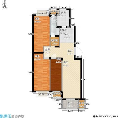 香槟水郡3室1厅1卫1厨90.00㎡户型图
