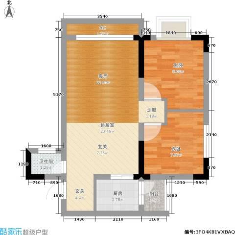 西城景秀2室0厅1卫1厨53.76㎡户型图