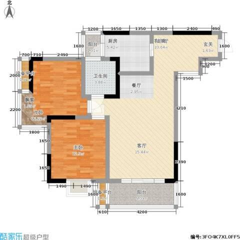 龙隐花苑2室1厅1卫1厨75.50㎡户型图