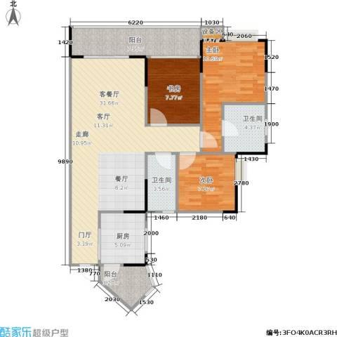明发尚都国际3室1厅2卫1厨112.00㎡户型图