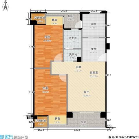 荣安琴湾2室0厅1卫1厨122.00㎡户型图