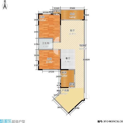 明发尚都国际2室1厅1卫1厨102.00㎡户型图