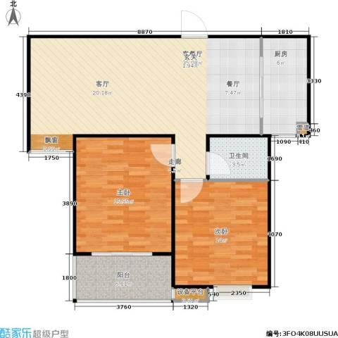 福星新城2室1厅1卫1厨87.00㎡户型图