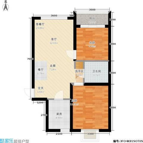 龙景尚都2室1厅1卫1厨81.00㎡户型图