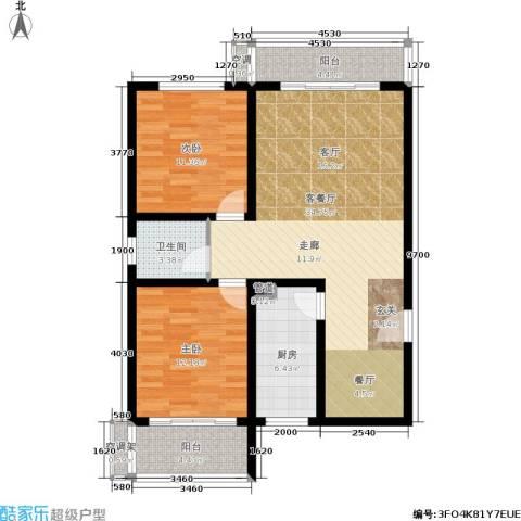 竹满人家2室1厅1卫1厨88.00㎡户型图