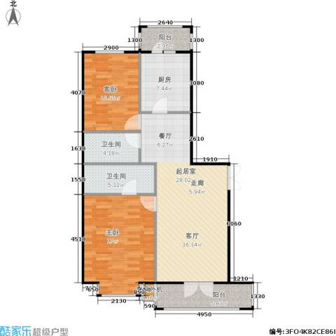蓝天荣府2室0厅2卫1厨88.47㎡户型图