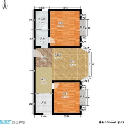 龙江秀水园2室1厅1卫1厨86.00㎡户型图
