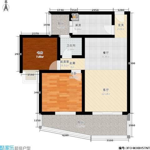 香山花园2室0厅1卫1厨76.00㎡户型图