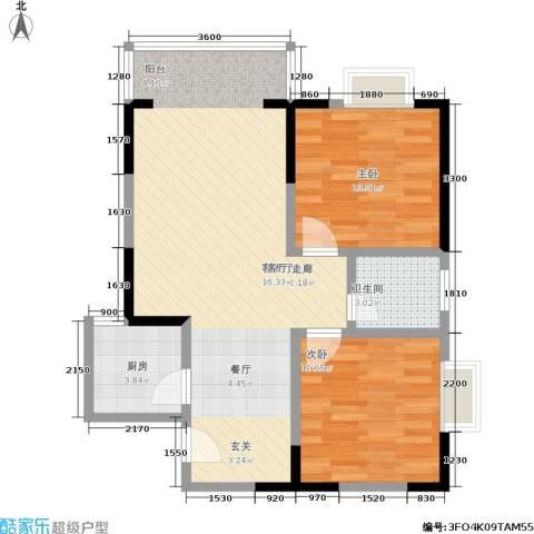 百康年世纪门2室1厅1卫1厨57.28㎡户型图