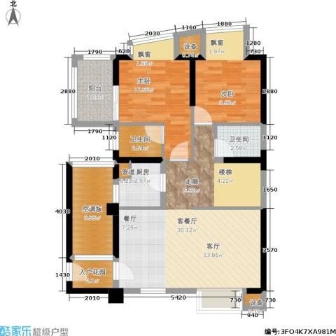 古龙御园2室1厅2卫1厨107.00㎡户型图