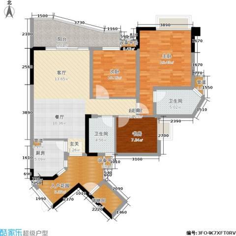 上海城二期3室0厅2卫1厨99.28㎡户型图
