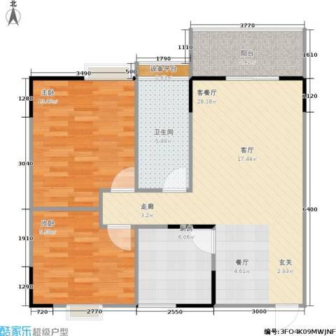 渝江丽都2室1厅1卫1厨94.00㎡户型图