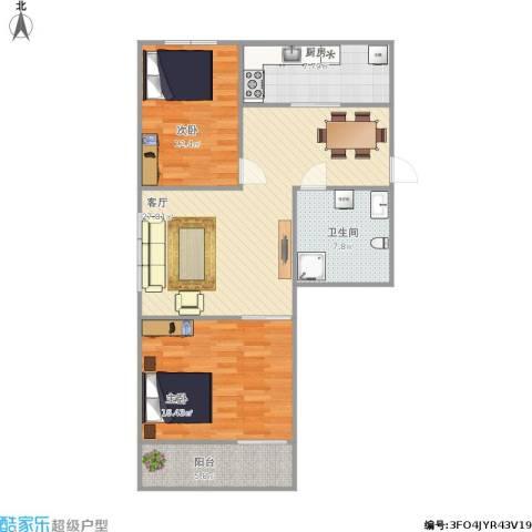 小康人家2室1厅1卫1厨105.00㎡户型图