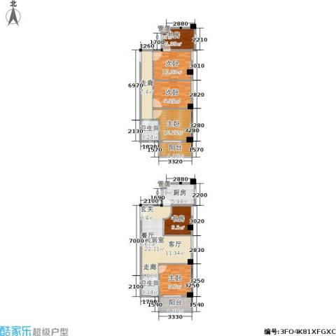 都会996室0厅2卫1厨103.34㎡户型图