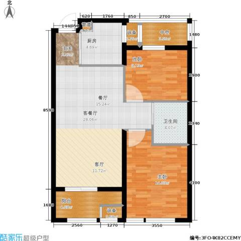 和美城2室1厅1卫1厨79.00㎡户型图