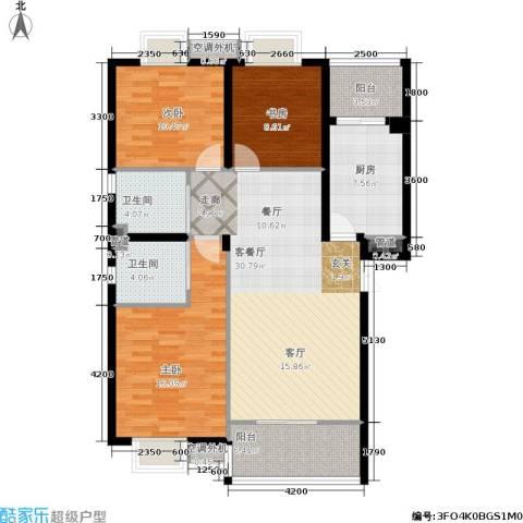 兰亭水云涧3室1厅2卫1厨97.00㎡户型图