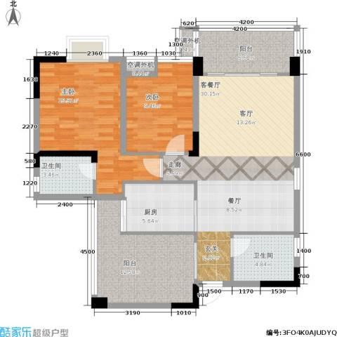 唐庄2室1厅2卫1厨89.59㎡户型图