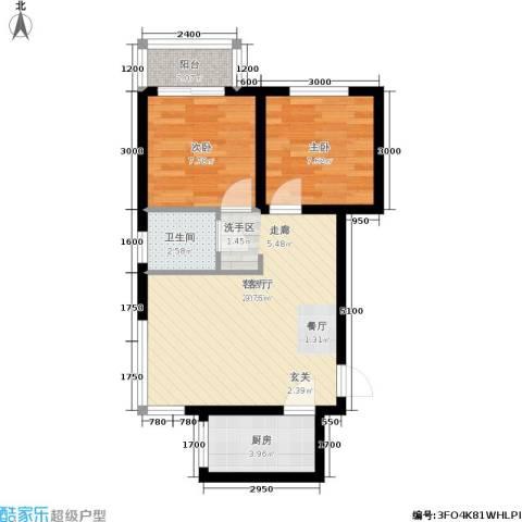 龙景尚都2室1厅1卫1厨65.00㎡户型图