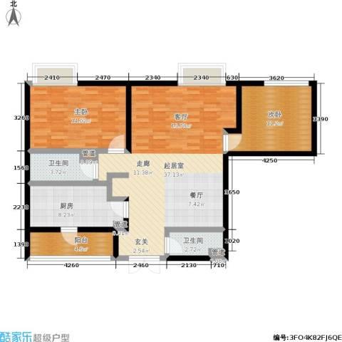 新洲阳光2室0厅2卫1厨95.00㎡户型图