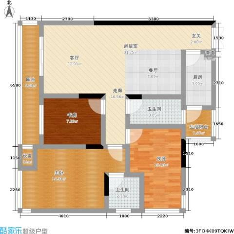 海洲国际公寓3室0厅2卫1厨121.00㎡户型图