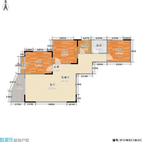 玲珑雅居3室1厅1卫1厨75.00㎡户型图