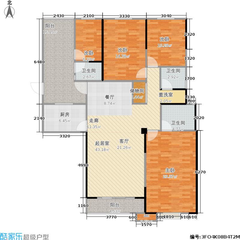 银海领域户型4室3卫1厨