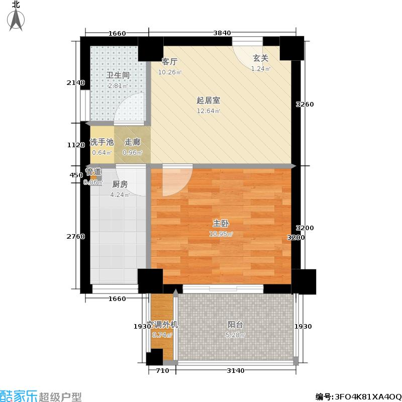 东晖广场户型1室1卫1厨