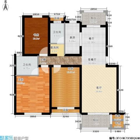 鼎欣世家3室1厅2卫1厨118.00㎡户型图