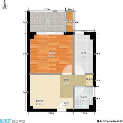 东晖广场1室0厅1卫1厨53.00㎡户型图