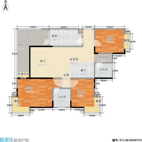 达飞绿洲3室0厅2卫1厨82.00㎡户型图