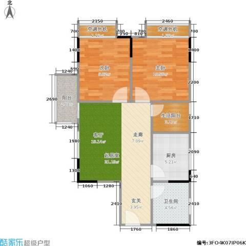天河名港2室0厅1卫1厨61.00㎡户型图