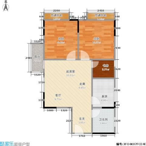 天河名港3室0厅1卫1厨61.00㎡户型图