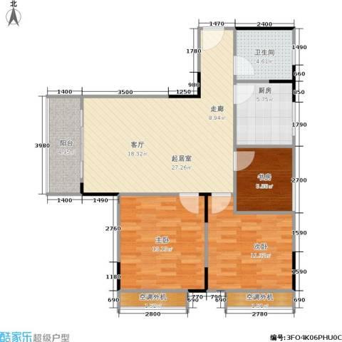 天河名港3室0厅1卫1厨75.92㎡户型图