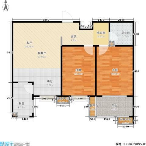 世佳戎居2室1厅1卫1厨96.00㎡户型图