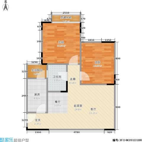 天河名港2室0厅1卫1厨57.38㎡户型图