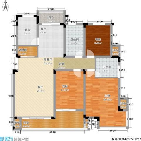 嘉业阳光城3室1厅2卫1厨128.00㎡户型图