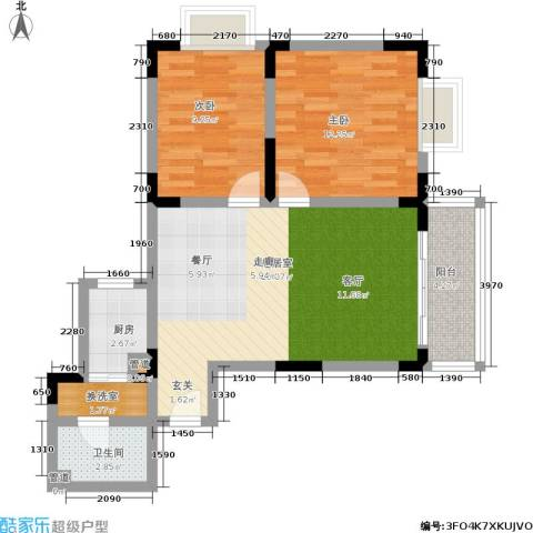 渝南佳苑2室0厅1卫1厨68.30㎡户型图
