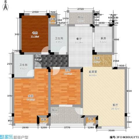 嘉业阳光城3室0厅2卫1厨128.00㎡户型图