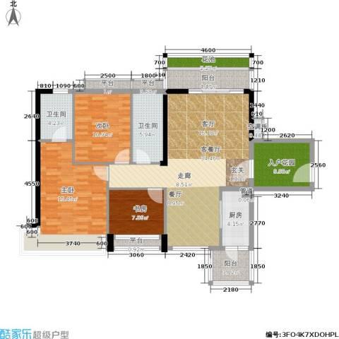 花城广场3室1厅2卫1厨147.00㎡户型图