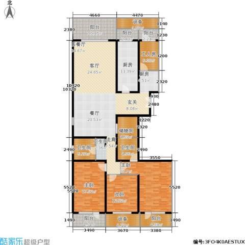 中华家园3室1厅2卫1厨201.00㎡户型图