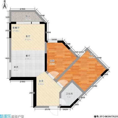 百康年世纪门2室1厅1卫0厨51.06㎡户型图
