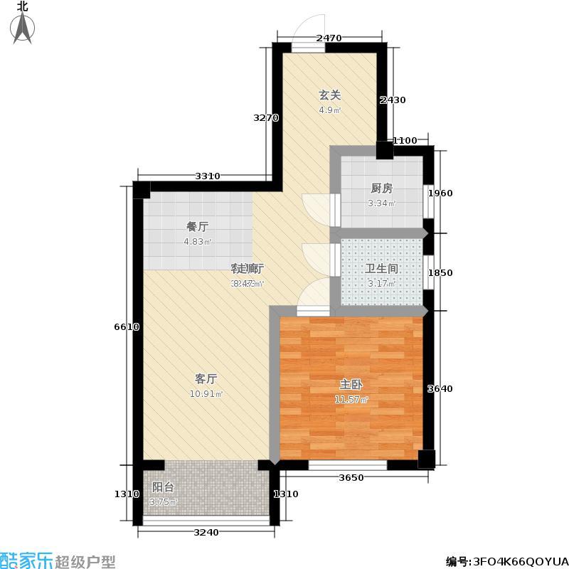 太子花苑59.05㎡12号楼D户型 1室2厅1卫户型1室2厅1卫