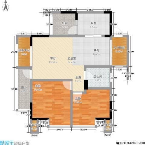 天下城2室0厅1卫1厨101.00㎡户型图