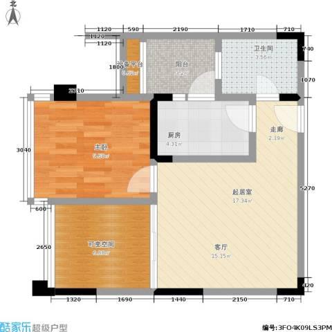 天下城1室0厅1卫1厨45.59㎡户型图